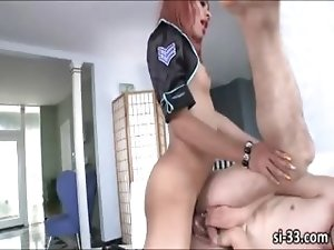 Nasty tranny cop Sasha Strokes fucks guy